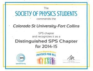 Distinguished sps chapter award