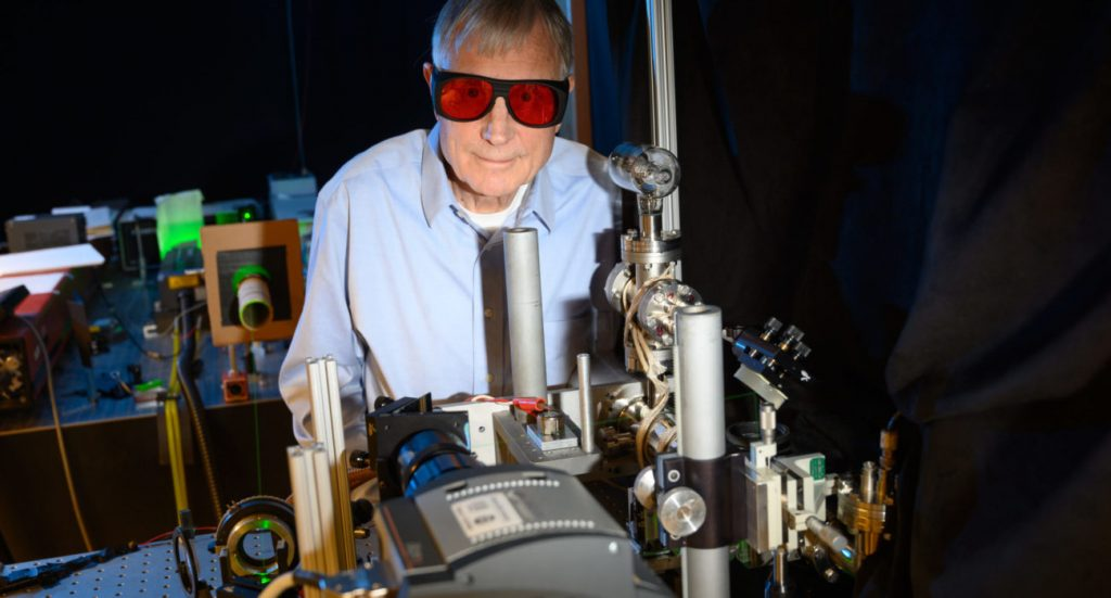 William Fairbank, Jr. Professor of Physics, in his research laboratory.